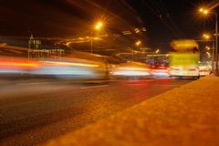 Bokeh motorway at night as an abstract background.  stock photos