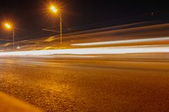 Bokeh motorway at night as an abstract background.  stock image