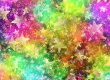 Bokeh multicolor de alrededor y las formas de la estrella en caótico arreglan ilustración del vector