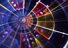 Bokeh, multicolored symmetrisch fractal patroon als cirkel Stock Afbeeldingen