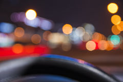 Bokeh Night Background. Background from car view Stock Photos