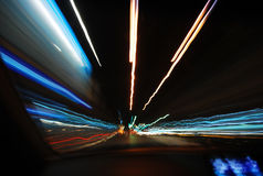 Bokeh night blur focus slow speed shutter electricity light Royalty Free Stock Images