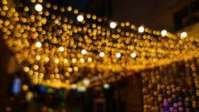 Bokeh night life blur and defocus, festival in Bangkok Thailand Stock Images