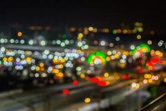Bokeh night life blur and defocus traffic in Bangkok Thailand, N Royalty Free Stock Photo