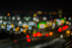 Bokeh night life blur and defocus traffic in Bangkok Thailand, N Royalty Free Stock Photography