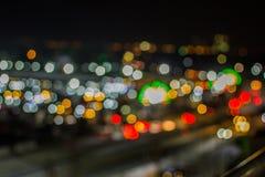 Bokeh night life blur and defocus traffic in Bangkok Thailand, N Stock Photos