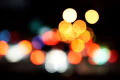 Bokeh night light abstract background. City night light blur bokeh defocused background stock illustration