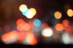 Bokeh night light abstract background. City night light blur bokeh defocused background vector illustration
