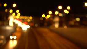 Bokeh nocy miasta droga Z ostrości zbiory