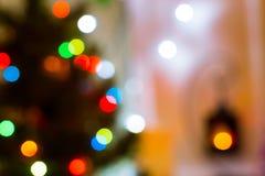 Bokeh Nuevo-año y del fondo festivos de la Navidad Fotos de archivo libres de regalías