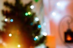 Bokeh Nuevo-año y del fondo festivos de la Navidad Fotos de archivo