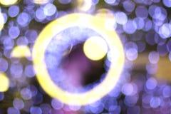 Bokeh okręgu światła ultrafioletowy kolor i kolor żółty Fotografia Royalty Free