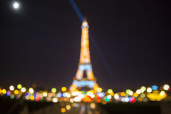 Bokeh photo of Eiffel Tower at night in Paris Royalty Free Stock Images