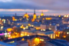 Bokeh photo of old town at sunset, Tallinn, Estonia Stock Photos