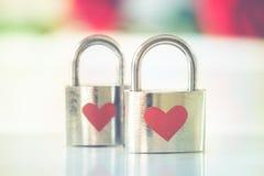 Bokeh Photo of Two Heart-printed Stainless Steel Padlocks Stock Photo
