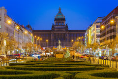 Bokeh photo of Wenceslas Square at night, Prague, Czech Republic Royalty Free Stock Photography