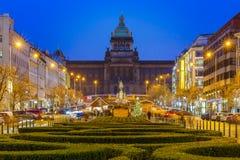 Bokeh photo of Wenceslas Square at night, Prague, Czech Republic Royalty Free Stock Photography