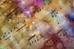 Bokeh pianonotblad Arkivfoton