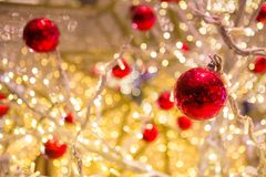 Bokeh of Red Ball and Light on a Christmas tree royalty free stock images