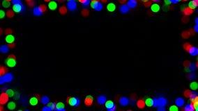 Bokeh redondo lento Defocused o borroso de las luces que destella, círculos en marco con la colocación inconsútil metrajes