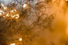 Bokeh resume el fondo de las lanas de acero que brillan intensamente de la naranja con la copia Fotos de archivo libres de regalías