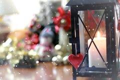 Bokeh retro de la nieve de la forma del corazón Imágenes de archivo libres de regalías