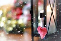 Bokeh retro de la nieve de la forma del corazón Fotografía de archivo libre de regalías