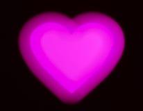 Bokeh rosa del cuore del biglietto di S. Valentino Fotografia Stock
