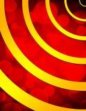 Bokeh rosso ed anelli dorati Fotografia Stock