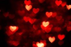 Bokeh rouge de coeur Photographie stock libre de droits
