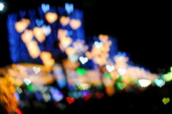 Bokeh series - colorful hearts Stock Image