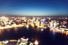 Bokeh of skyline at sunset time, Shanghai Royalty Free Stock Photos