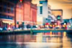 Bokeh som ses på den inre hamnen i Baltimore, Maryland Arkivfoton