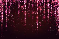 Bokeh sparkle glitter lights luxury glamor pink background. Abstract defocused circular party magic christmas background. Bokeh sparkle glitter lights luxury stock illustration