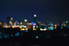 Bokeh Star Shape Night  Light Background. Bokeh Night City Light Landscape Background In Little Colorful Star Shape Glowing Lights Royalty Free Stock Image