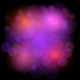 Bokeh steekt feestelijke achtergrond aan Abstracte achtergrond met cirkels Ontwerpachtergrond in gekleurde lichte vlekken Stock Foto