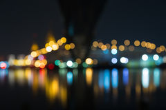 Bokeh street light. Street light of Industrial ring road bridge (Bhumibol Bridge), Bangkok, Thailand Stock Image