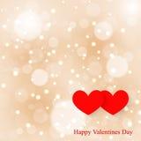 Bokeh suave del fondo de dos corazones Imágenes de archivo libres de regalías