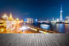 Bokeh tła miasto Shanghai przy nocą Obraz Stock
