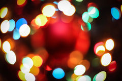 Bokeh texture garland blur. New year colorful rainbow lights Stock Photography