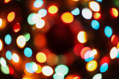 Bokeh texture garland. New year colorful rainbow lights Royalty Free Stock Images
