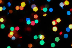 Bokeh texture garland. New year colorful rainbow lights blur Royalty Free Stock Image
