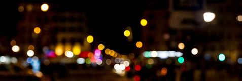Bokeh traffic light at night in the street of a big city Stock Photography