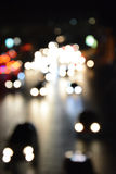 Bokeh trafic light in the night at Central World Bangkok Thailan Royalty Free Stock Image