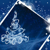 Bokeh tree card. A square card with new year tree Stock Image