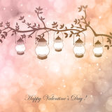 Bokeh Valentine day background. Vector  illustration with lamps and branch on  background with bokeh and light. Happy Valentines Day Card Design. 14 February Stock Photos