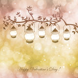 Bokeh Valentine day background. Vector  illustration with lamps and branch on  background with bokeh and light. Happy Valentines Day Card Design. 14 February Stock Images