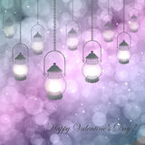 Bokeh Valentine day background. Vector  illustration with lamps on a pink  purple background with bokeh and light. Happy Valentines Day Card Design. 14 February Royalty Free Stock Images