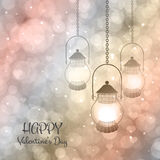 Bokeh Valentine day background. Vector  illustration with lamps on a pink  purple background with bokeh and light. Happy Valentines Day Card Design. 14 February Stock Photos