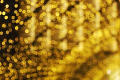 Bokeh van gele LEIDENE lichtenachtergrond Royalty-vrije Stock Afbeeldingen